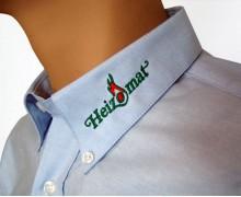 Vezenje logotipa Heizomat na ovratnik srajce